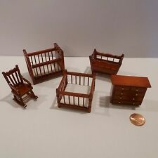 "MINIATURE 1/2"" SCALE BABY ROOM SET  CRIB, PLAYPEN, ROCKER, DRESSER AND CRADLE"