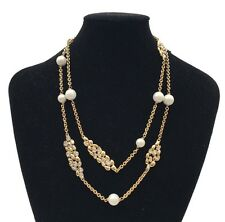 Alexis Bittar Crystal/Gold/ Pearl Station Necklace $225