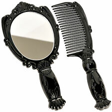 Small Vintage Style Hand Held Vanity Makeup Compact Comb Mirror Pocket Travel