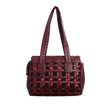 Malo Burgundy Cashmere Leather Satchel Handbag Shoulder Bag