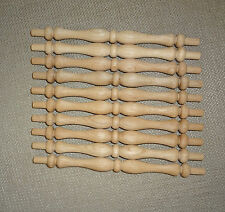 "Lot of 10 Oak Wood Chair Rail Gallery Spindles 4 3/4"" Long - 5 3/4"" Total Length"