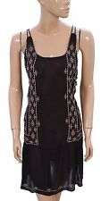 130003 New Free People Embroidered Criss Cross Strep Black Tunic Dress Large L