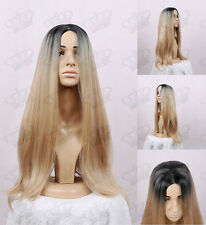 Ladies Ombre Black Root/Champagne Blonde Fringeless Long Quality Synthetic Wig