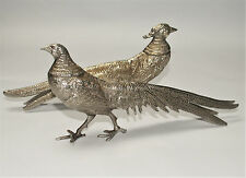 Vintage Set of Metal Pheasants - Silver Plated Pair Cock and Hen Bird Figurines