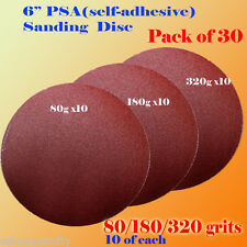 "30x 6"" PSA Self Adhesive 80/180/320  Grit Sanding Disc Stick On Sandpaper Peel"