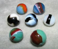 "M4535 VINTAGE PELTIER VARIOUS  7 LOT MARBLES  5/8""  +/-  NEAR  MINT"