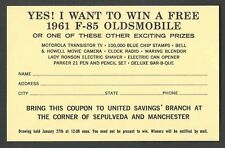 1961 OLDSMOBILE AUTO DRAWING WIN A FREE CAR BRING COUPON TO U.S SAVINGS BANK