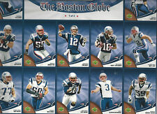 2007 NE Patriots Boston Globe Team Set on 3-sheets of 12  Trading Cards each