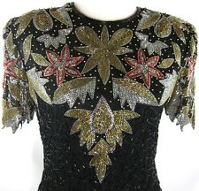 Laurence Kazar Black Silk Beaded Sequin Gold Silver Red Dress Sz MED Worn Once!