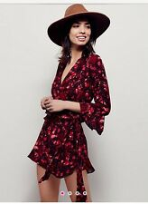 Free People All The Right Ruffles Romper Rot S 36 wie NEU