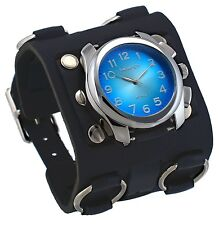 Nemesis WB091L Men's Super Wide Tri Clasp Leather Cuff Band Sunburst Blue Watch