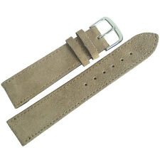 18mm Mens Fluco Sand Tan Suede Leather German Made Watch Band Strap