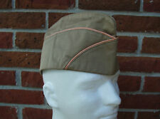 WWII US Army Signal Corp Garrison Cap (Orange/White Piping) Lined 7-3/8