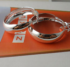 lovely tremendous 1pair S80 Silver Classic Circle Earrings  SD64