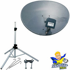 Zone 1 60cm Sky satellite dish + quad LNB & tripod kit portable camping caravan