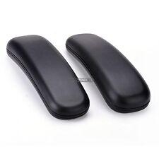 """2Pcs Chair Replacement Part Hard Arm Pads Armrest Caps Flat Top Black 9.75"""" x 3"""""""