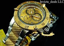 Invicta Mens 50mm Subaqua Noma III Swiss Made Chrono Gold Dial Two Tone SS Watch