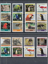 Guyana 2014 Mnh animales y aves definitives 20v Set Tucán Otter Jaguar Tortuga