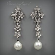 White Gold Plated Cubic Zirconia CZ Pearl Wedding Bridal Drop Dangle earrings 46