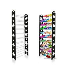 10 Livello Scarpiera Mensola archiviazione Nero Rack Stand Organizer fino a 30 paia di Scarpe