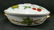 "Royal Worcester Evesham Gold Round Tureen 8 1/4"" Across Maize Pear Cherry"