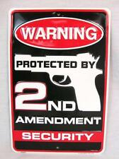 WARNING PROTECTED BY 2ND AMENDMENT SECURITY METAL TIN SIGN GARAGE MAN CAVE