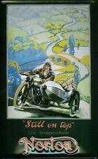"""Blechschild Norton Motorrad mit Beiwagen Gespann """"Still on Top"""" Nostalgieschild"""