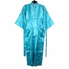 Traditional Chinese Floral Kimono Robe Rayon Top in Blue Size M New