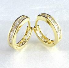 fashion1uk Simulated Diamond 14K Gold Plated Unisex Huggie Hoop Earrings 14mm