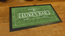 Personalised Welcome White beer label Football pitch Bar runner counter mat