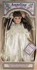 "Angelina Collection Porcelain Doll 16"" Brown Hair Brown Eyes w/Eyelashes"