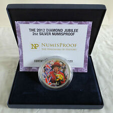 2012 DIAMOND JUBILEE COLOURED 2oz SILVER HALMARKED NUMISPROOF MEDAL - boxed/coa