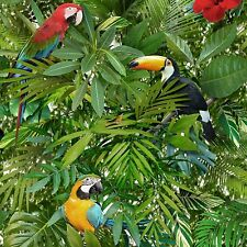 Tropical Jungle Parrots Wallpaper Toucan Bird Green Forest Leaves 601538