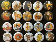 Looney Tunes & Hanna Barbera Button Badges x 20. Pins. Wholesale. Collector.