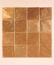 16-PC SELF-ADHESIVE RAISED COPPER FLORAL PATTERN TIN WALL BACKSPLASH TILES