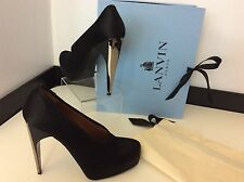 LANVIN Black Satin Court Shoes NEW boxed RRP £560 Size 37 Uk 4 Heels