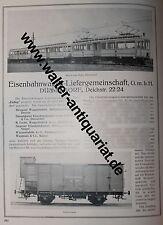 Eislieg + Waggon-Fabrik vorm. Weyer Düsseldorf 4 Seiten Werbeanzeige anno 1922