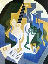 JUAN GRIS STILL LIFE WITH FRUIT BOWL MANDOLIN OLD ART PAINTING PRINT 1766OMA