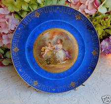 Gorgeous Antique Sevres Porcelain Plate ~ Blue ~ Victorian ~ Gold Gilt