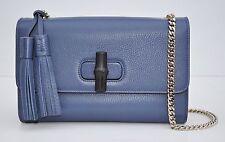 Gucci Miss Bamboo Medium Leather Shoulder Bag, Washed Indigo, MSRP $1,590