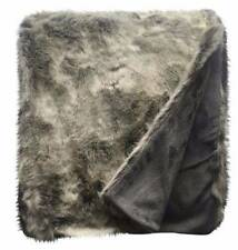 Threshold Target Gray Faux Fur Throw Blanket New