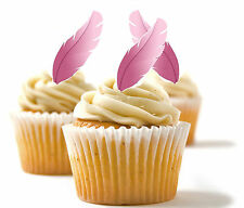 ✿ 24 Edible Rice Paper Cup Cake Toppings, Cake decs - Feathers ✿