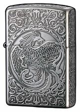 Zippo Oil Lighter Phoenix 5-sides Etching Antique Silver Plating Japan Limited