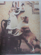HAND MADE GIRL + DOG PICTURE GOBLEN TAPESTRY,WALL HANGING, COMPLETE, EMBROIDERY