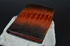 WALLET MENS BIFOLD GENUINE OSTRICH LEG SKIN LEATHER HANDMADE 11X8,5CM HAVANA-502