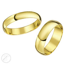 9ct Yellow Gold Wedding Rings His-Hers 5mm & 6mm D Shape Couple Wedding Bands