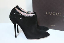 New sz 11 / 41 Gucci Beverly Black Suede Ankle Bootie Classic Boot Heel Shoes