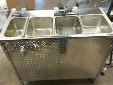 PORTABLE SELF CONTAINED 4 COMPARTMENT SINK , HOT DOG CART, FOOD TRUCK OR TRAILER