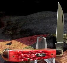 Case XX USA Damascus Red Bone Wharncliffe Blade Mini Trapper Knife MINT!