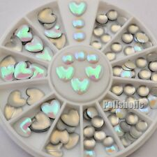Holographic Heart Round 3D Nail Art Studs Decoration UV Gel Manicure DIY 3-5mm